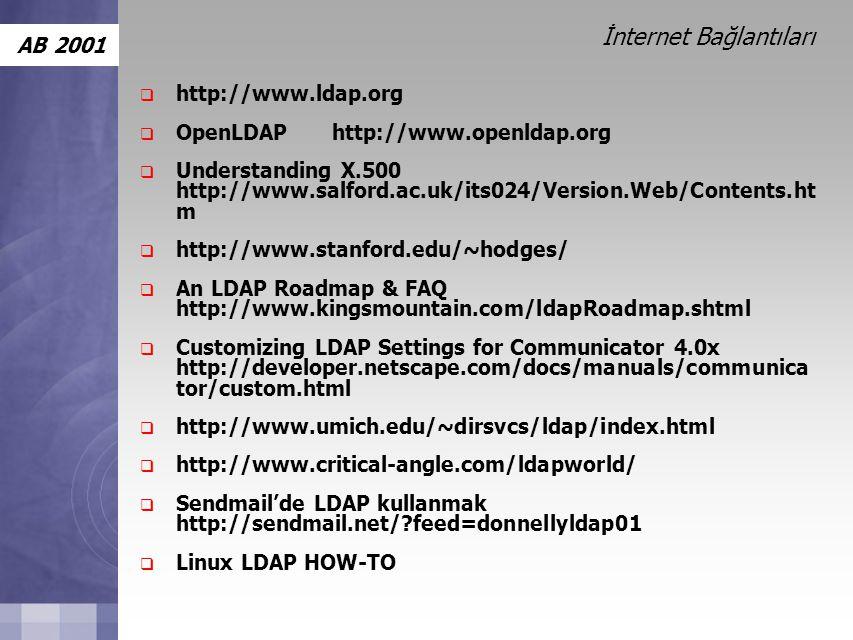 AB 2001 İnternet Bağlantıları  http://www.ldap.org  OpenLDAP http://www.openldap.org  Understanding X.500 http://www.salford.ac.uk/its024/Version.Web/Contents.ht m  http://www.stanford.edu/~hodges/  An LDAP Roadmap & FAQ http://www.kingsmountain.com/ldapRoadmap.shtml  Customizing LDAP Settings for Communicator 4.0x http://developer.netscape.com/docs/manuals/communica tor/custom.html  http://www.umich.edu/~dirsvcs/ldap/index.html  http://www.critical-angle.com/ldapworld/  Sendmail'de LDAP kullanmak http://sendmail.net/?feed=donnellyldap01  Linux LDAP HOW-TO