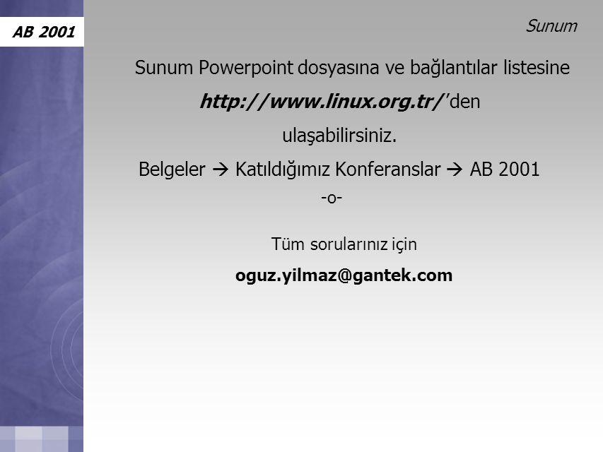 AB 2001 Sunum Sunum Powerpoint dosyasına ve bağlantılar listesine http://www.linux.org.tr/ 'den ulaşabilirsiniz.