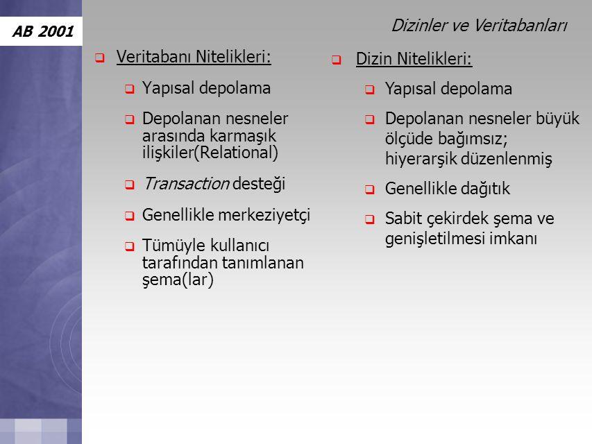 AB 2001  Veritabanı Nitelikleri:  Yapısal depolama  Depolanan nesneler arasında karmaşık ilişkiler(Relational)  Transaction desteği  Genellikle merkeziyetçi  Tümüyle kullanıcı tarafından tanımlanan şema(lar)  Dizin Nitelikleri:  Yapısal depolama  Depolanan nesneler büyük ölçüde bağımsız; hiyerarşik düzenlenmiş  Genellikle dağıtık  Sabit çekirdek şema ve genişletilmesi imkanı Dizinler ve Veritabanları