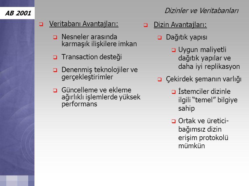 AB 2001  Veritabanı Avantajları:  Nesneler arasında karmaşık ilişkilere imkan  Transaction desteği  Denenmiş teknolojiler ve gerçekleştirimler  Güncelleme ve ekleme ağırlıklı işlemlerde yüksek performans  Dizin Avantajları:  Dağıtık yapısı  Uygun maliyetli dağıtık yapılar ve daha iyi replikasyon  Çekirdek şemanın varlığı  İstemciler dizinle ilgili temel bilgiye sahip  Ortak ve üretici- bağımsız dizin erişim protokolü mümkün Dizinler ve Veritabanları