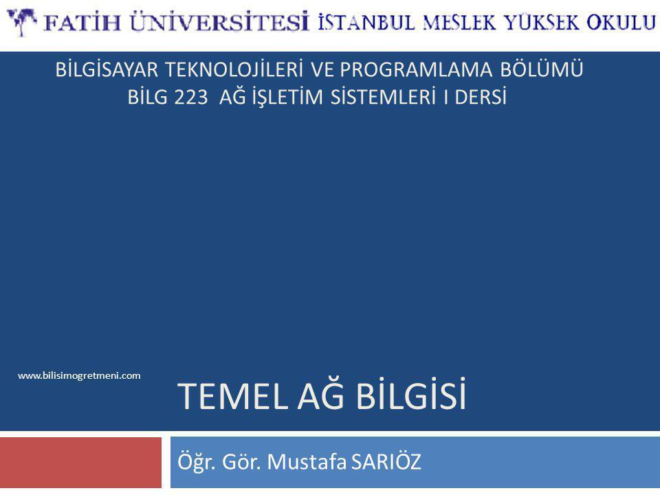 www.bilisimogretmeni.com TEMEL AĞ BİLGİSİ Öğr.Gör.