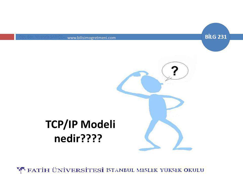 BİLG 231 TCP/IP Modeli nedir????