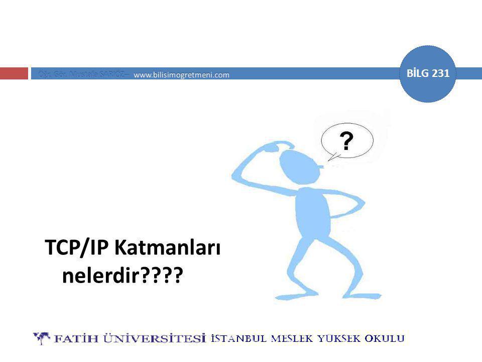 BİLG 231 TCP/IP Katmanları nelerdir????