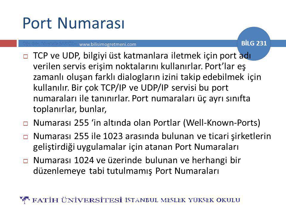 BİLG 231 Port Numarası  TCP ve UDP, bilgiyi üst katmanlara iletmek için port adı verilen servis erişim noktalarını kullanırlar.
