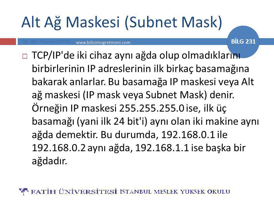 BİLG 231 Alt Ağ Maskesi (Subnet Mask)  TCP/IP de iki cihaz aynı ağda olup olmadıklarını birbirlerinin IP adreslerinin ilk birkaç basamağına bakarak anlarlar.