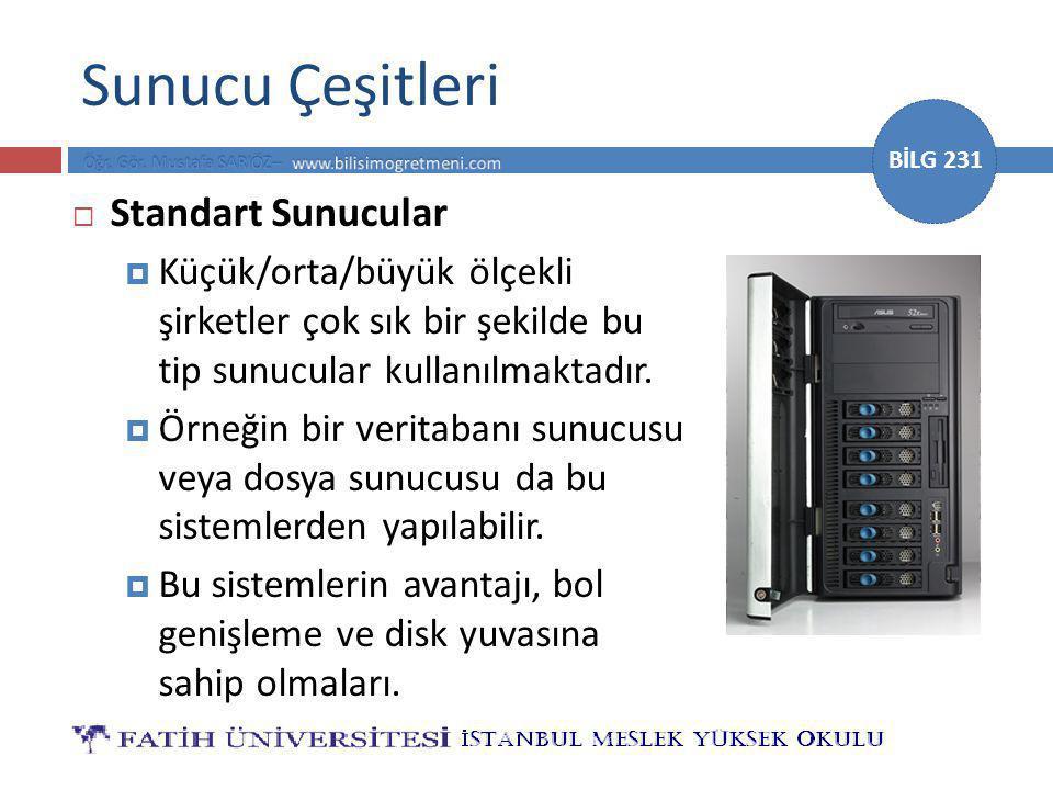 BİLG 231 Sunucu Çeşitleri  Standart Sunucular  Küçük/orta/büyük ölçekli şirketler çok sık bir şekilde bu tip sunucular kullanılmaktadır.