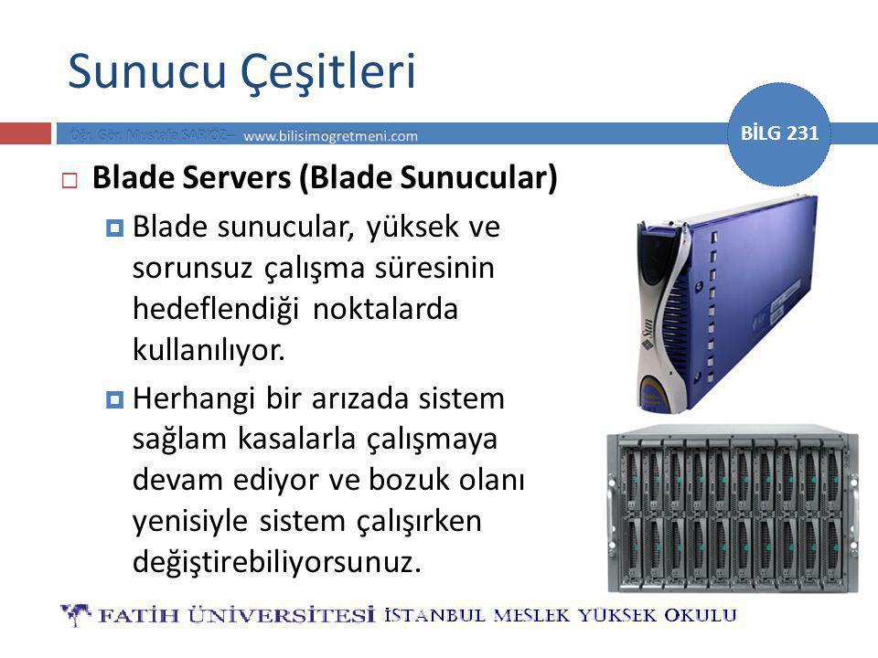 BİLG 231 Sunucu Çeşitleri  Blade Servers (Blade Sunucular)  Blade sunucular, yüksek ve sorunsuz çalışma süresinin hedeflendiği noktalarda kullanılıyor.