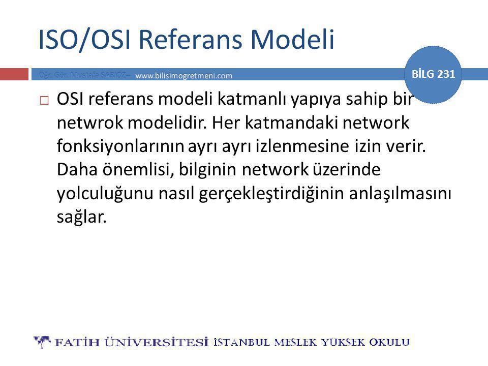 BİLG 231 OSI Referans Modelinin Avantajları Katmanlı network yapısının birçok faydası vardır örneğin,  Network iletişimini küçük ve basit parçalara ayırır.