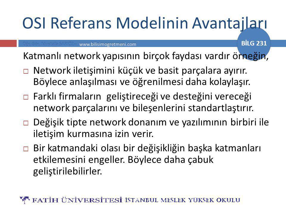 BİLG 231 Protokol Kavramı  Verinin, bir network üzerinde herhangi bir kaynaktan bir hedefe yol alabilmesi için gerekli olan en önemli kriter, ağı oluşturan tüm elemanların aynı dili konuşması yada aynı kurallar ailesine uyarak haberleşmeleridir.