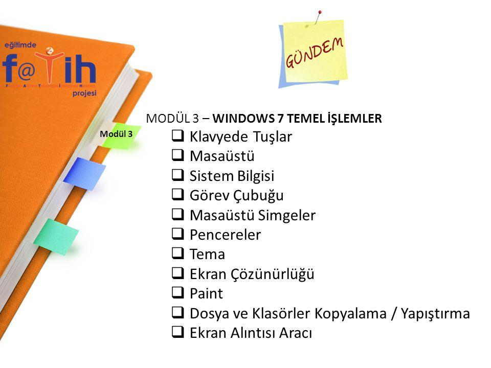 Modül 3 MODÜL 3 – WINDOWS 7 TEMEL İŞLEMLER  Klavyede Tuşlar  Masaüstü  Sistem Bilgisi  Görev Çubuğu  Masaüstü Simgeler  Pencereler  Tema  Ekran Çözünürlüğü  Paint  Dosya ve Klasörler Kopyalama / Yapıştırma  Ekran Alıntısı Aracı