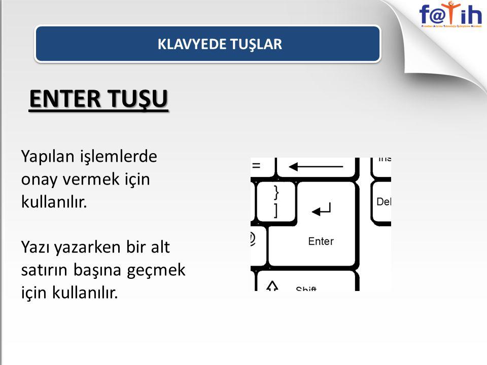 KLAVYEDE TUŞLAR ENTER TUŞU Yapılan işlemlerde onay vermek için kullanılır.