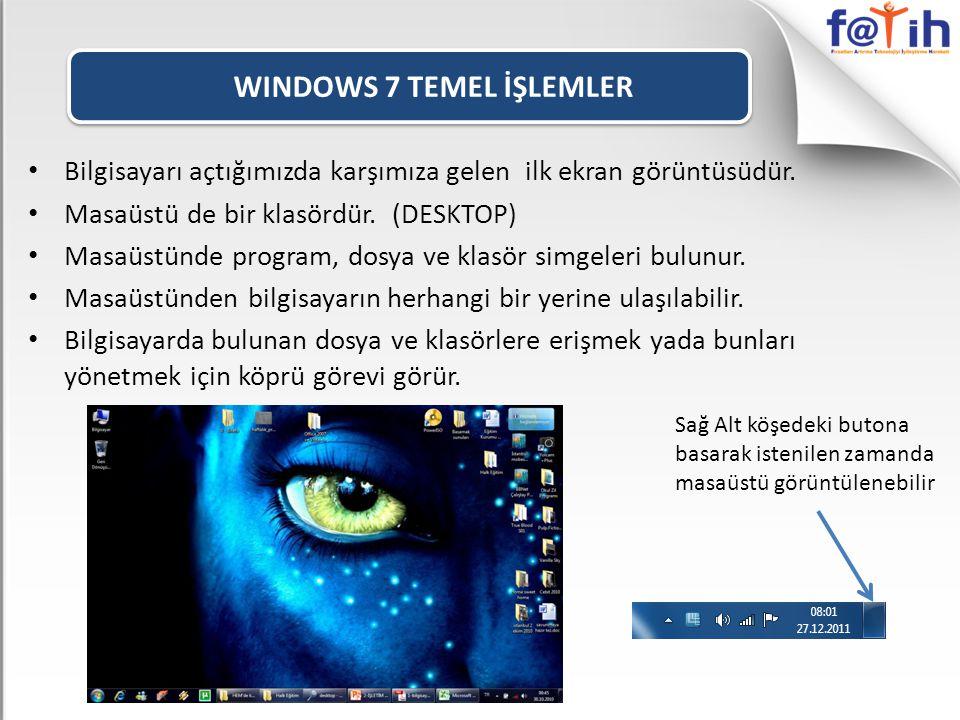 WINDOWS 7 TEMEL İŞLEMLER • Bilgisayarı açtığımızda karşımıza gelen ilk ekran görüntüsüdür.
