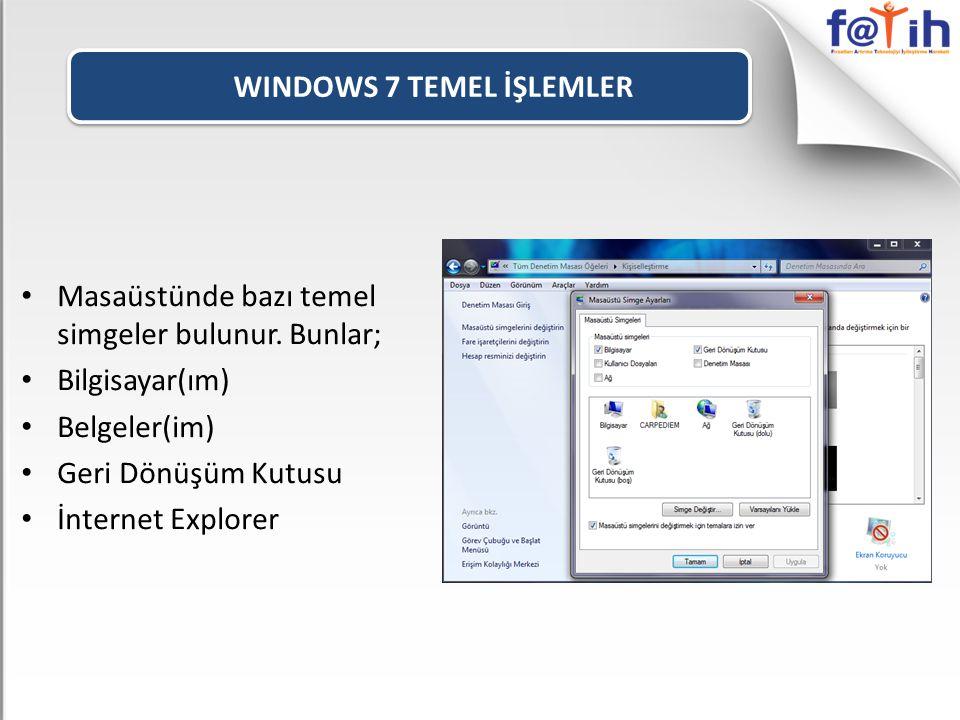 WINDOWS 7 TEMEL İŞLEMLER • Masaüstünde bazı temel simgeler bulunur.