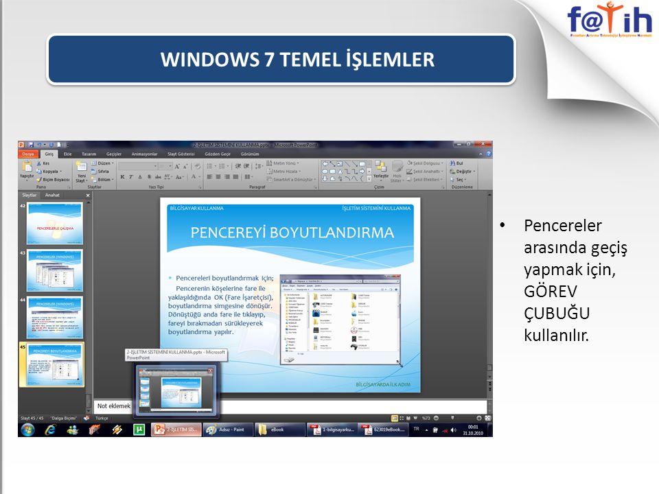 WINDOWS 7 TEMEL İŞLEMLER • Pencereler arasında geçiş yapmak için, GÖREV ÇUBUĞU kullanılır.