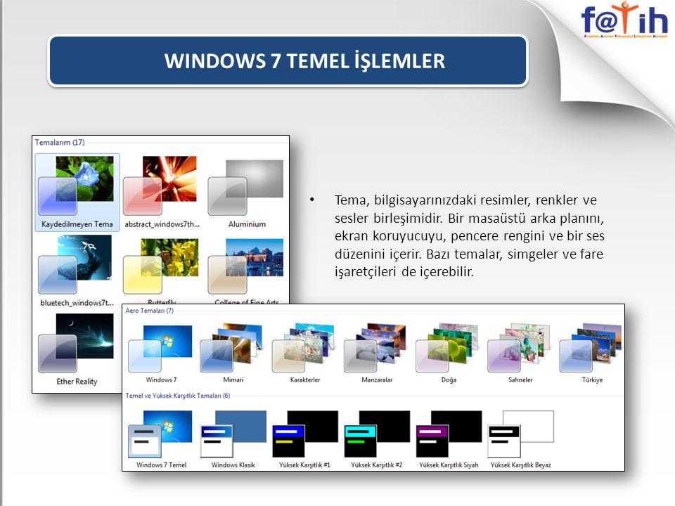 WINDOWS 7 TEMEL İŞLEMLER • Tema, bilgisayarınızdaki resimler, renkler ve sesler birleşimidir.