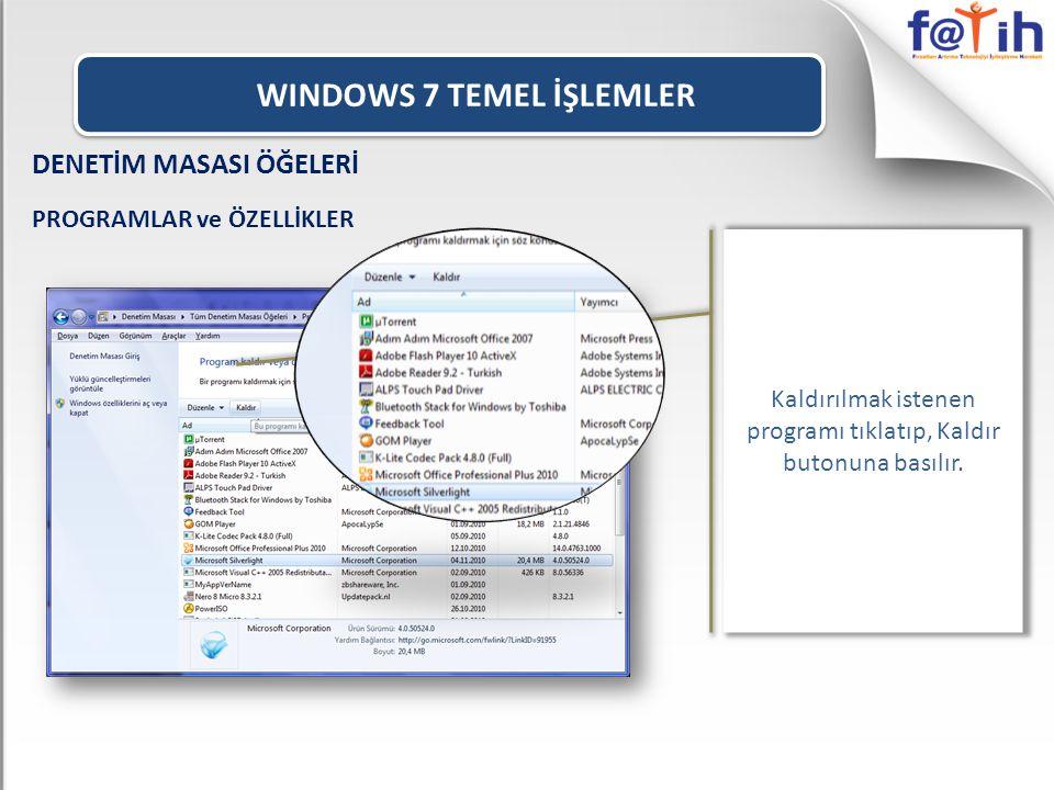 WINDOWS 7 TEMEL İŞLEMLER Kaldırılmak istenen programı tıklatıp, Kaldır butonuna basılır.