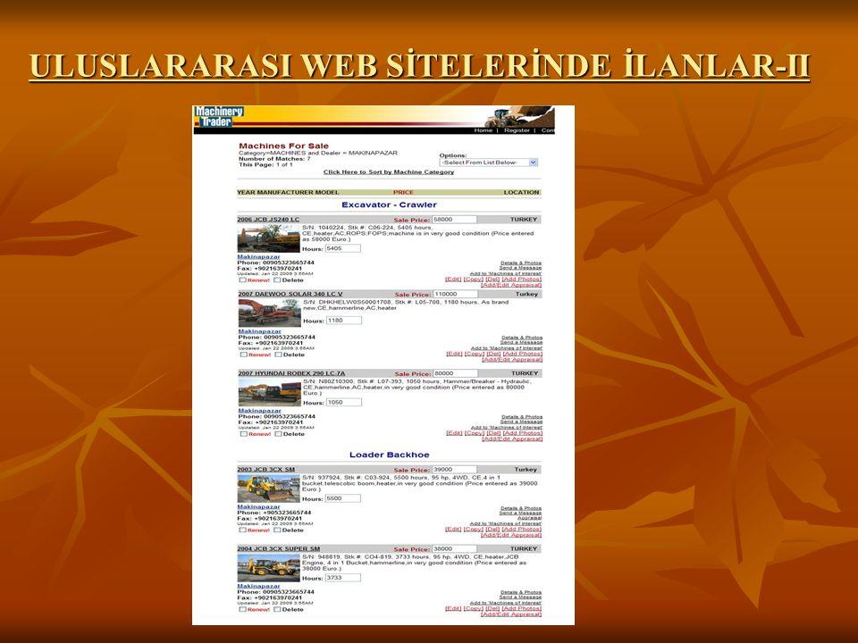 ULUSLARARASI WEB SİTELERİNDE İLANLAR-II