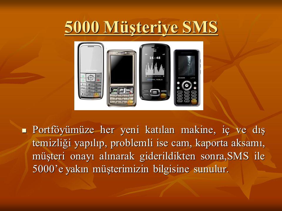5000 Müşteriye SMS  Portföyümüze her yeni katılan makine, iç ve dış temizliği yapılıp, problemli ise cam, kaporta aksamı, müşteri onayı alınarak gide