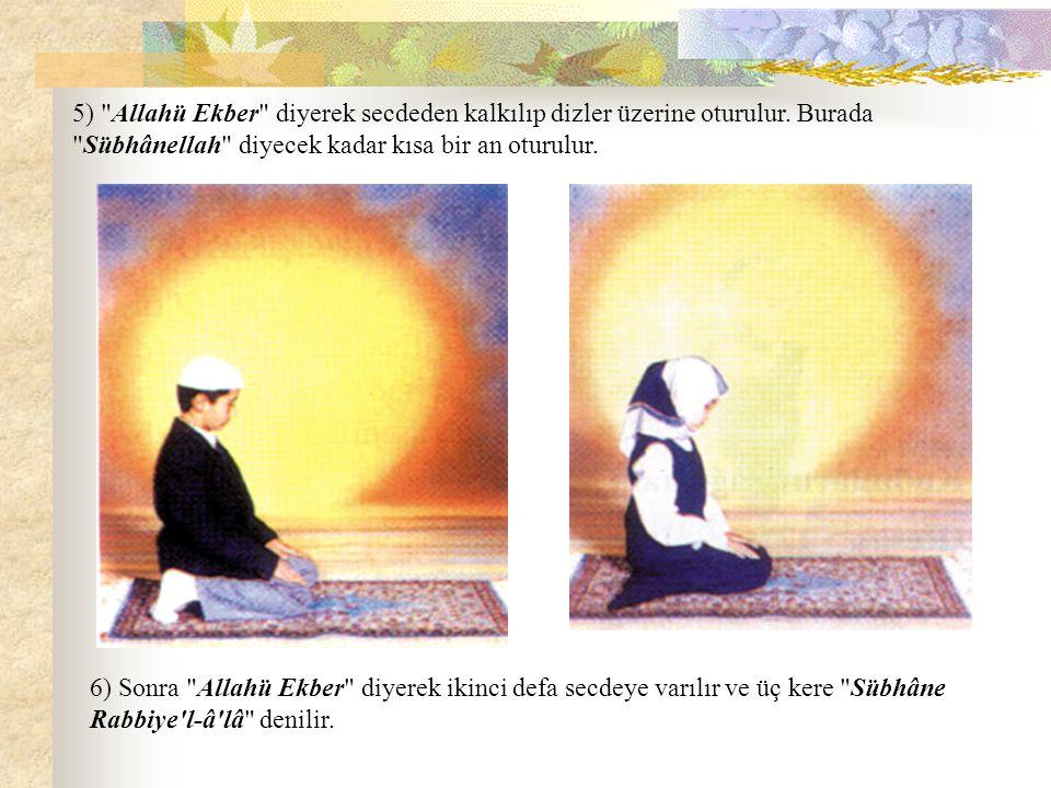5) Allahü Ekber diyerek secdeden kalkılıp dizler üzerine oturulur.