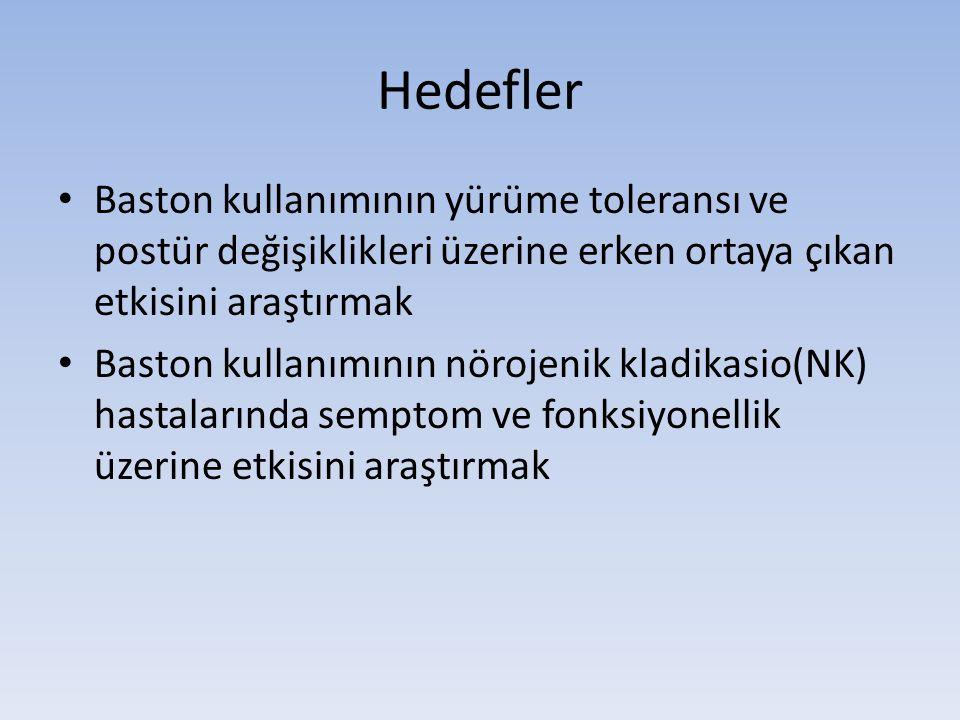 Hedefler • Baston kullanımının yürüme toleransı ve postür değişiklikleri üzerine erken ortaya çıkan etkisini araştırmak • Baston kullanımının nörojenik kladikasio(NK) hastalarında semptom ve fonksiyonellik üzerine etkisini araştırmak