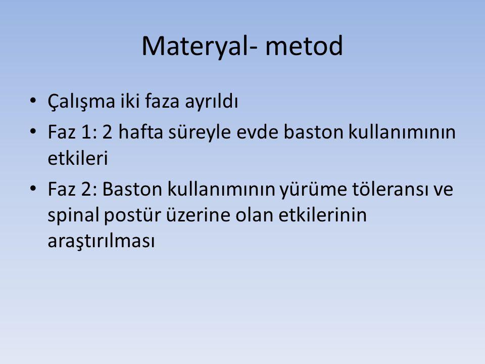Materyal- metod • Çalışma iki faza ayrıldı • Faz 1: 2 hafta süreyle evde baston kullanımının etkileri • Faz 2: Baston kullanımının yürüme töleransı ve spinal postür üzerine olan etkilerinin araştırılması