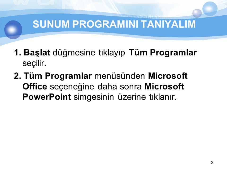 2 SUNUM PROGRAMINI TANIYALIM 1. Başlat düğmesine tıklayıp Tüm Programlar seçilir. 2. Tüm Programlar menüsünden Microsoft Office seçeneğine daha sonra