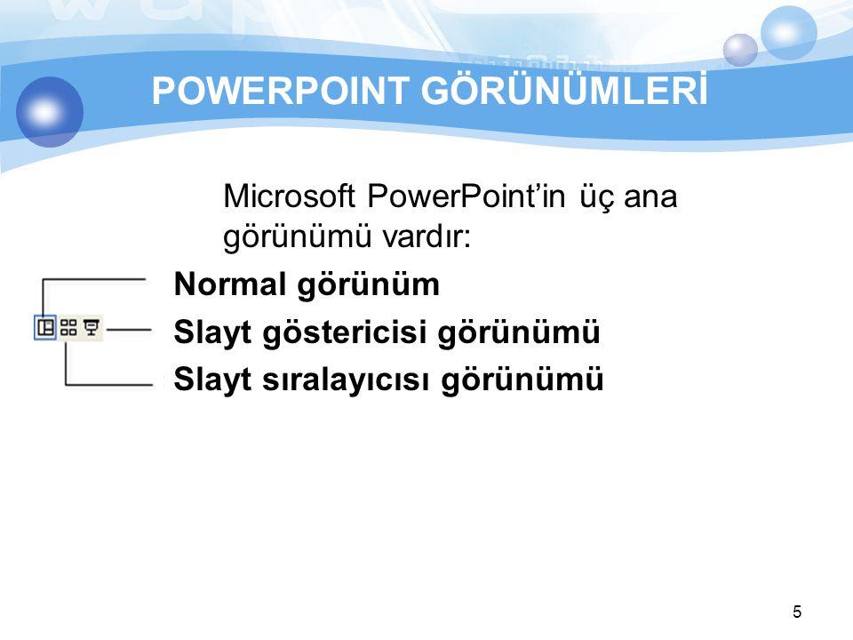 5 POWERPOINT GÖRÜNÜMLERİ Microsoft PowerPoint'in üç ana görünümü vardır: Normal görünüm Slayt göstericisi görünümü Slayt sıralayıcısı görünümü