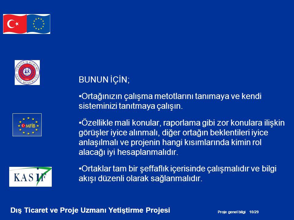 Proje genel bilgi 10/29 Dış Ticaret ve Proje Uzmanı Yetiştirme Projesi BUNUN İÇİN; •Ortağınızın çalışma metotlarını tanımaya ve kendi sisteminizi tanı