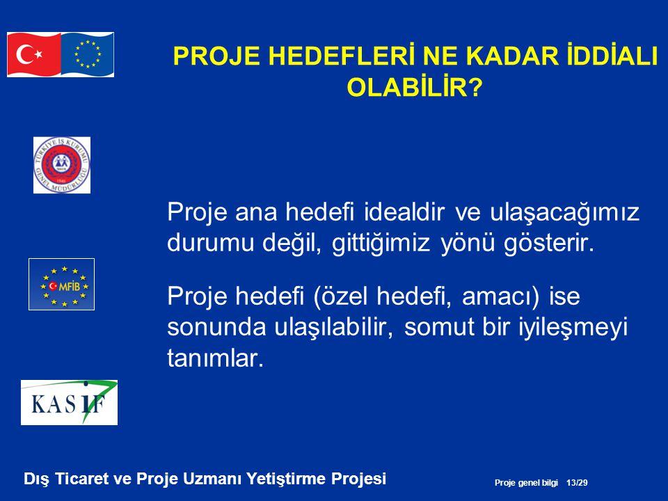 Proje genel bilgi 13/29 Dış Ticaret ve Proje Uzmanı Yetiştirme Projesi PROJE HEDEFLERİ NE KADAR İDDİALI OLABİLİR? Proje ana hedefi idealdir ve ulaşaca