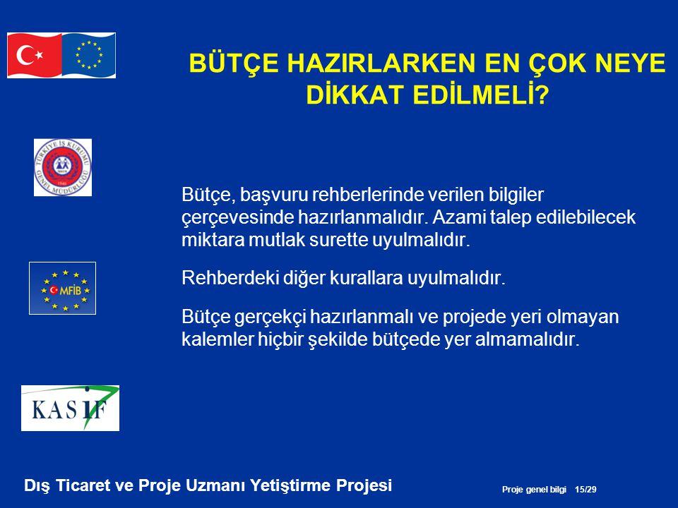 Proje genel bilgi 15/29 Dış Ticaret ve Proje Uzmanı Yetiştirme Projesi BÜTÇE HAZIRLARKEN EN ÇOK NEYE DİKKAT EDİLMELİ? Bütçe, başvuru rehberlerinde ver