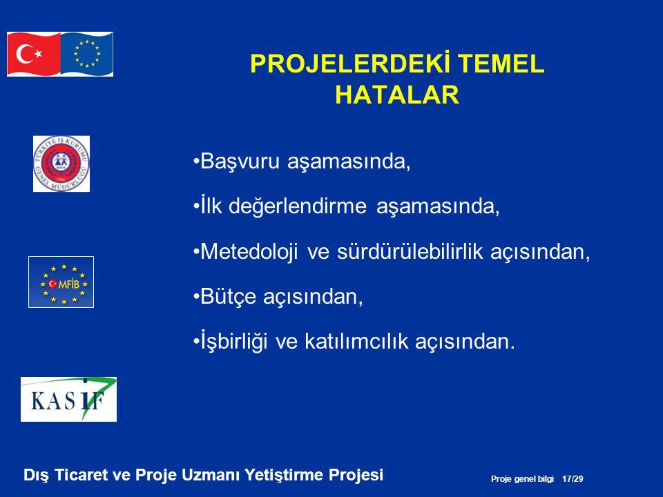 Proje genel bilgi 17/29 Dış Ticaret ve Proje Uzmanı Yetiştirme Projesi PROJELERDEKİ TEMEL HATALAR •Başvuru aşamasında, •İlk değerlendirme aşamasında,