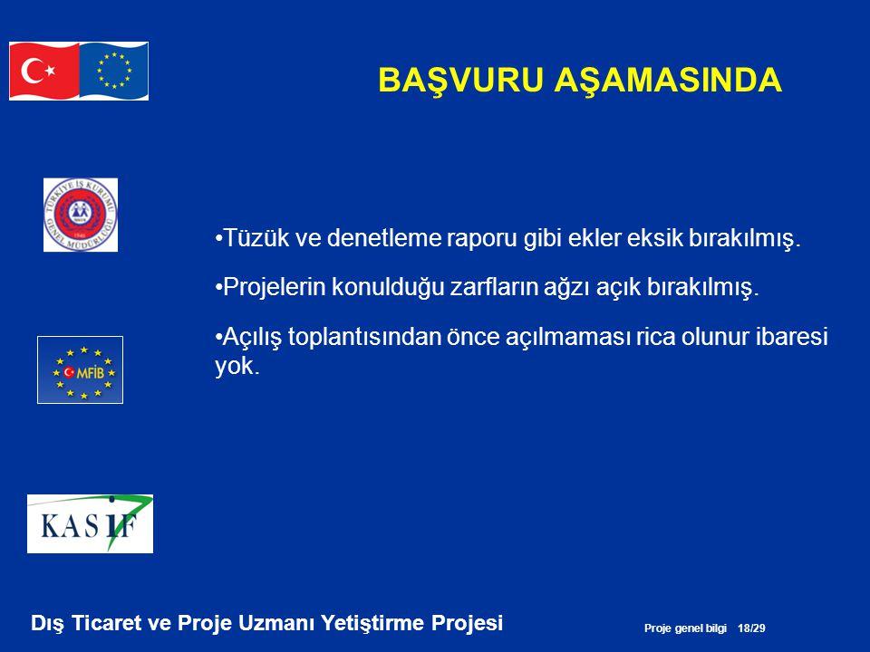 Proje genel bilgi 18/29 Dış Ticaret ve Proje Uzmanı Yetiştirme Projesi BAŞVURU AŞAMASINDA •Tüzük ve denetleme raporu gibi ekler eksik bırakılmış. •Pro