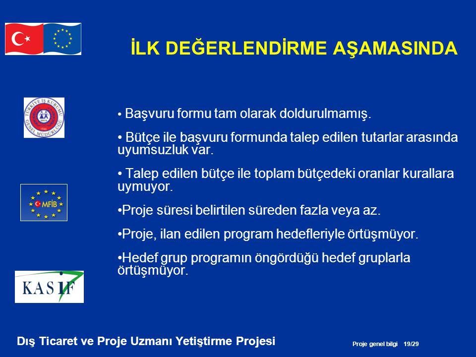 Proje genel bilgi 19/29 Dış Ticaret ve Proje Uzmanı Yetiştirme Projesi İLK DEĞERLENDİRME AŞAMASINDA • Başvuru formu tam olarak doldurulmamış. • Bütçe