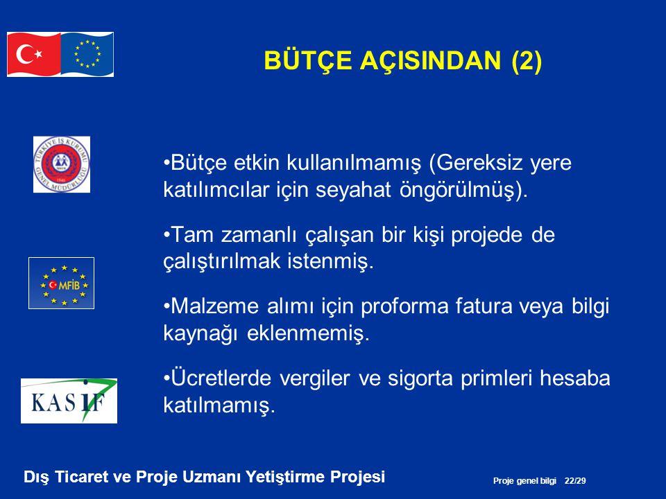 Proje genel bilgi 22/29 Dış Ticaret ve Proje Uzmanı Yetiştirme Projesi BÜTÇE AÇISINDAN (2) •Bütçe etkin kullanılmamış (Gereksiz yere katılımcılar için