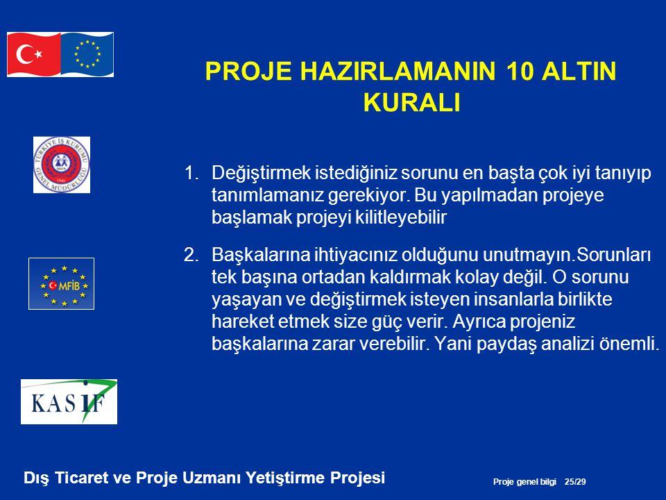 Proje genel bilgi 25/29 Dış Ticaret ve Proje Uzmanı Yetiştirme Projesi PROJE HAZIRLAMANIN 10 ALTIN KURALI 1.Değiştirmek istediğiniz sorunu en başta ço