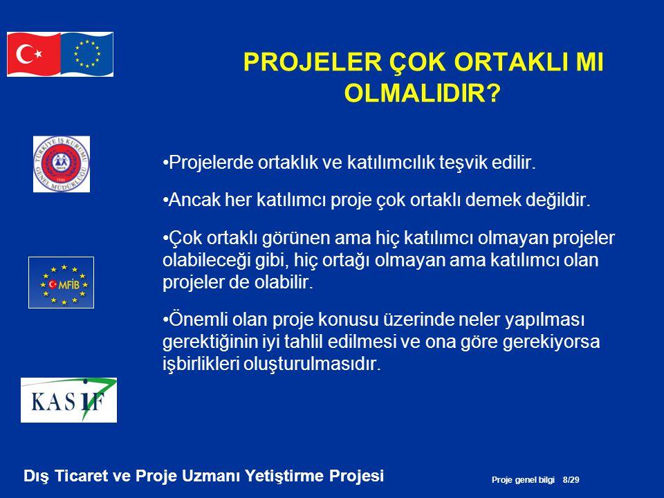 Proje genel bilgi 29/29 Dış Ticaret ve Proje Uzmanı Yetiştirme Projesi KAYNAKLAR •Proje Döngü Yönetimi Rehberi, Avrupa Komisyonu, Mart 2004 •Proje Geliştirme Aşamasında En Çok Sorulan Sorular; GEF Küçük Destek Programı (SGP) 2004 •Daphne Projesi Nasıl Hazırlanır?, Daphne Programı (2000- 2003), AK, •Proje Geliştirmede Mantıksal Çerçeve Yaklaşımı, STGP, 2004