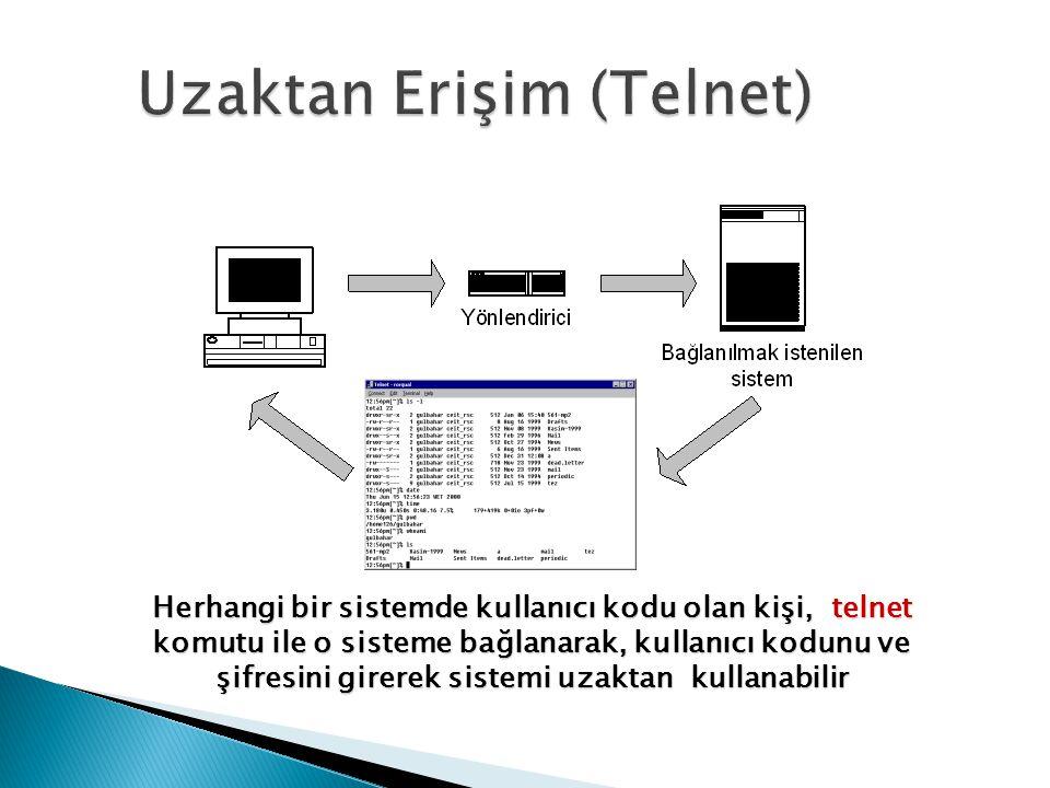 Herhangi bir sistemde kullanıcı kodu olan kişi, telnet komutu ile o sisteme bağlanarak, kullanıcı kodunu ve şifresini girerek sistemi uzaktan kullanab