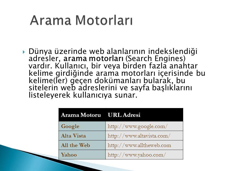  Dünya üzerinde web alanlarının indekslendiği adresler, arama motorları (Search Engines) vardır. Kullanıcı, bir veya birden fazla anahtar kelime gird
