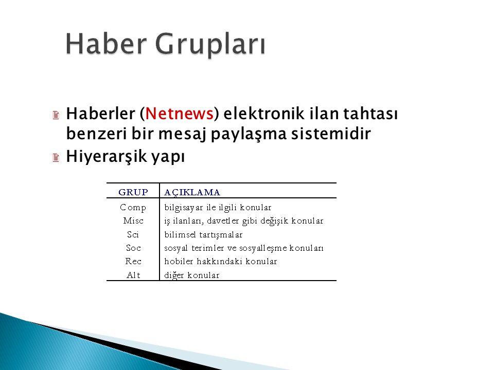  Haberler (Netnews) elektronik ilan tahtası benzeri bir mesaj paylaşma sistemidir  Hiyerarşik yapı 19