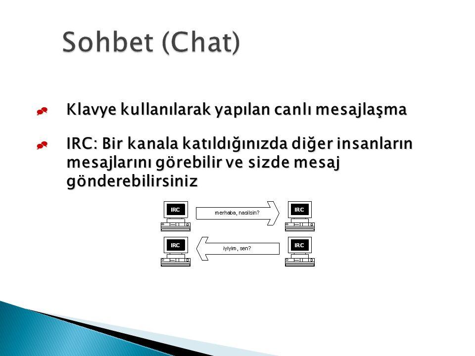  Klavye kullanılarak yapılan canlı mesajlaşma  IRC: Bir kanala katıldığınızda diğer insanların mesajlarını görebilir ve sizde mesaj gönderebilirsini
