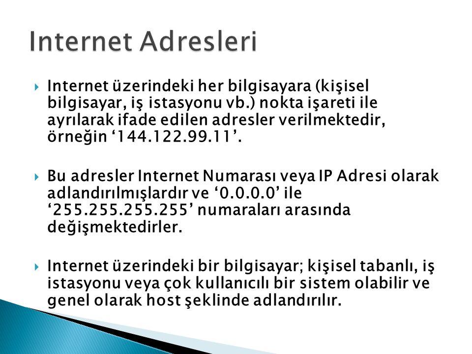  Internet üzerindeki her bilgisayara (kişisel bilgisayar, iş istasyonu vb.) nokta işareti ile ayrılarak ifade edilen adresler verilmektedir, örneğin '144.122.99.11'.