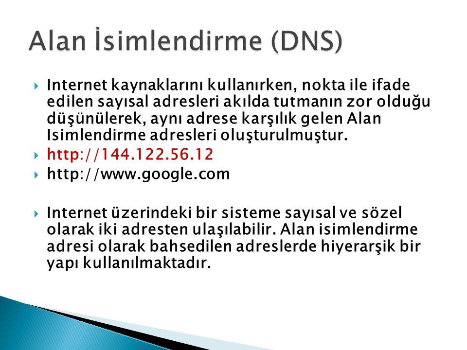 IP ADRESLERİ Internet Numarası veya IP Adresi 144.122.99.11 0.0.0.0  255.255.255.255 9 ALAN İSİMLENDİRME ADRESLERİ