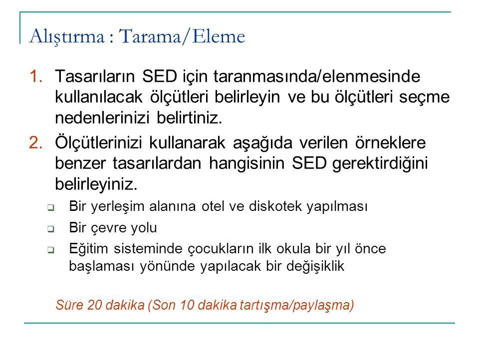 Alıştırma : Tarama/Eleme 1.Tasarıların SED için taranmasında/elenmesinde kullanılacak ölçütleri belirleyin ve bu ölçütleri seçme nedenlerinizi belirti