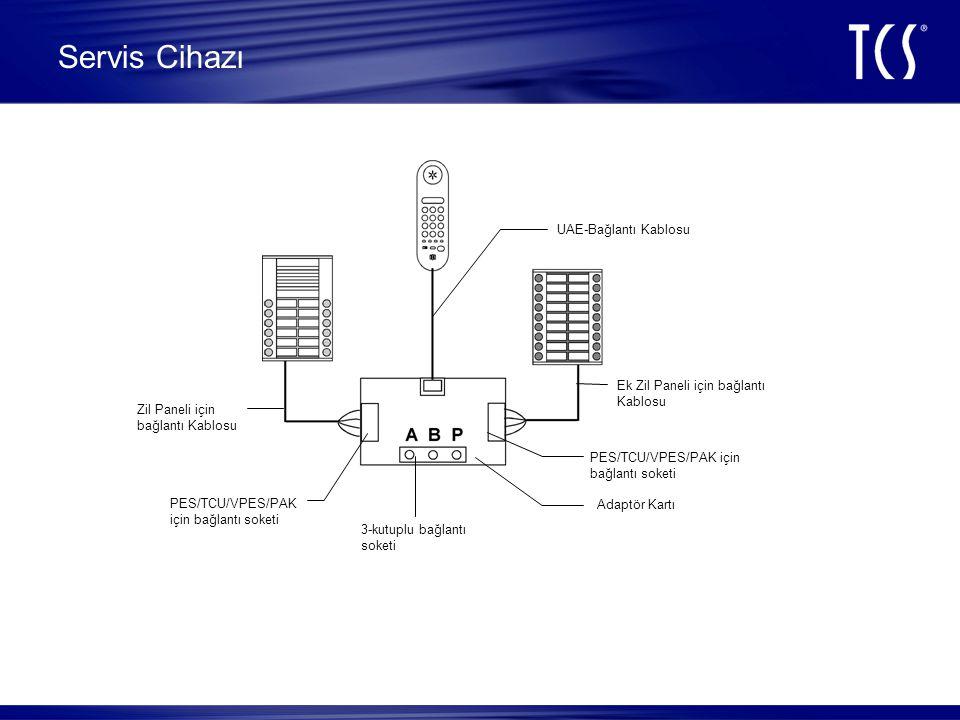 Servis Cihazı Fonksiyonları •BUS Protokollerini sayısal olarak gösterme •BUS Protokollerini kontrol ve değiştirme •Dış Ünite ve İç ünitelerinin Parametrelerinin değiştirilmesi •TCS:BUS üzerinde basit fonksiyonlar •Programlama esnasında çalma sesini açıp kapatma •Aktuel BUS gerilimini gösterme •Zil paneli butonlarını programlama ve silme •Servis cihazı ile hem dış ünite hem de iç ünite ile sesli görüşme ve test •BUS kurulum testi Servis Modunda •Programlama kilidi aktif ve deaktif edebilme özelliği Fonksiyonlar: