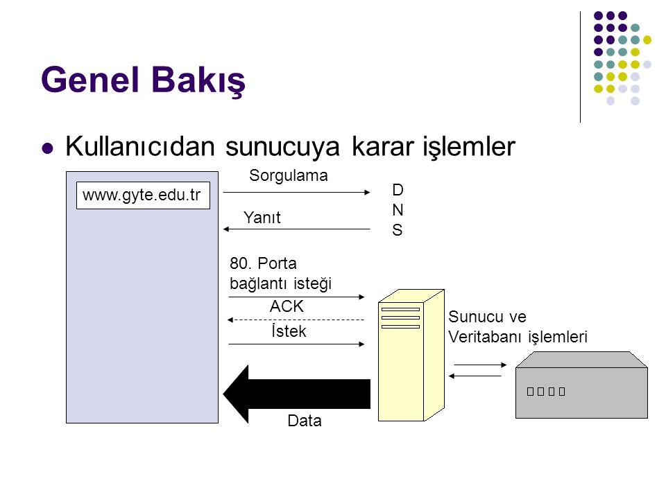 Genel Bakış  Kullanıcıdan sunucuya karar işlemler www.gyte.edu.tr DNSDNS 80.