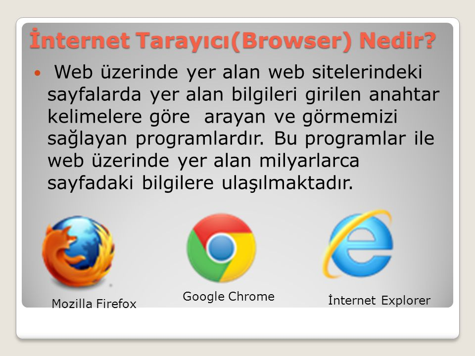 İnternet Tarayıcı(Browser) Nedir?  Web üzerinde yer alan web sitelerindeki sayfalarda yer alan bilgileri girilen anahtar kelimelere göre arayan ve gö