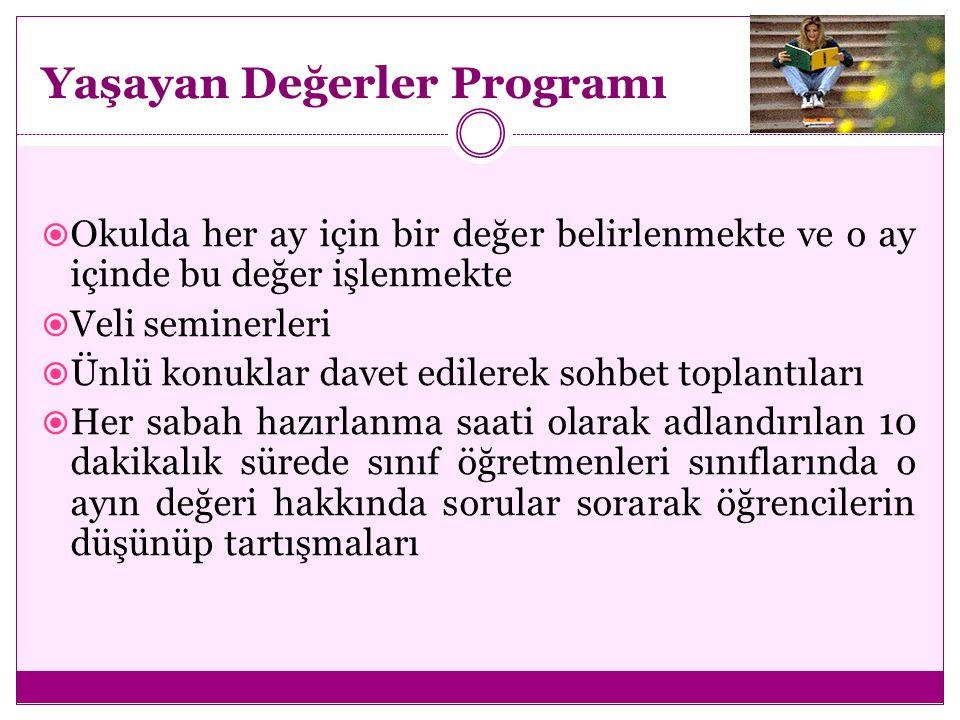  Öğretmen asistanlığı programı, akran danışmanlığı ve toplumsal hizmet programı, ahlak eğitimi Okullarda Değerler Eğitimi