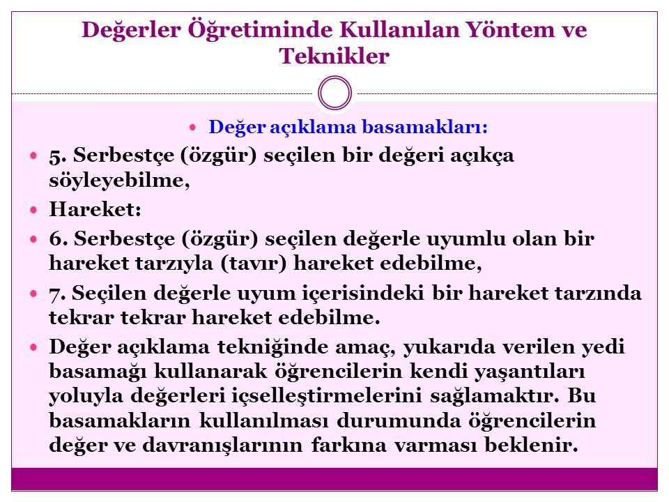 Değerler Öğretiminde Kullanılan Yöntem ve Teknikler  Değer açıklama basamakları:  Seçme:  1. Özgürce seçim ya da bağımsız seçim yapma (seçme özgürl