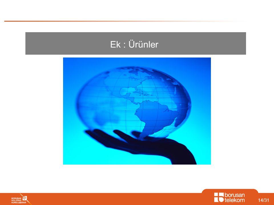 14/31 Ek : Ürünler