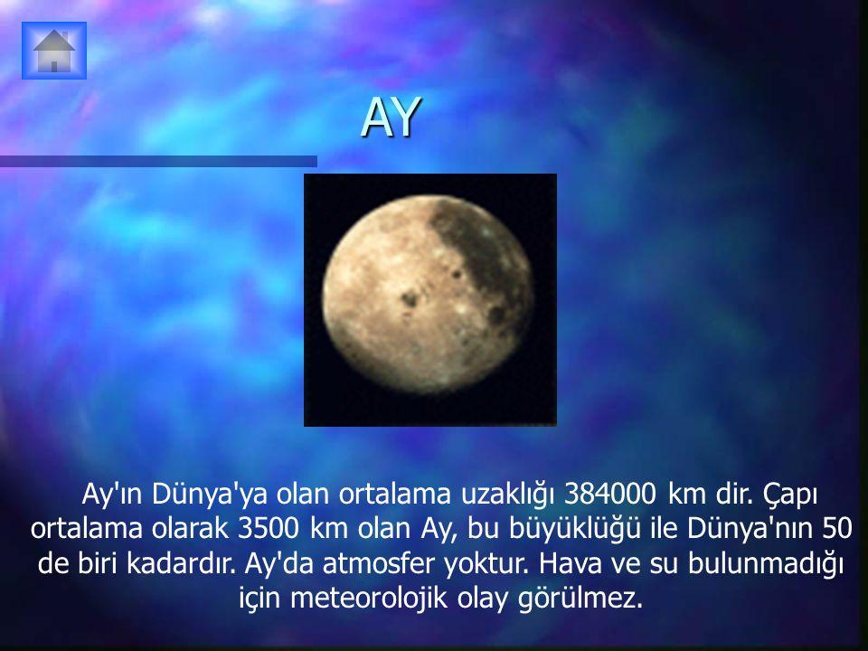 AY Ay'ın Dünya'ya olan ortalama uzaklığı 384000 km dir. Çapı ortalama olarak 3500 km olan Ay, bu büyüklüğü ile Dünya'nın 50 de biri kadardır. Ay'da at